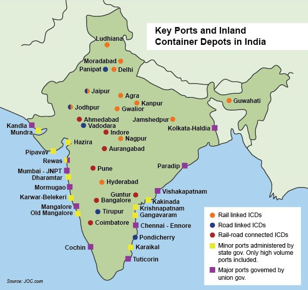 KEY PORTS AND INLAND CONTAINER DEPORTS IN INDIA